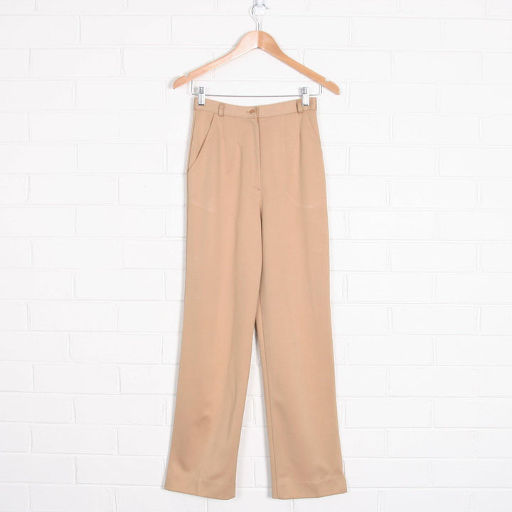 70s High Waist Straight Leg Beige Pleated Pants - Vintage Sole Melbourne