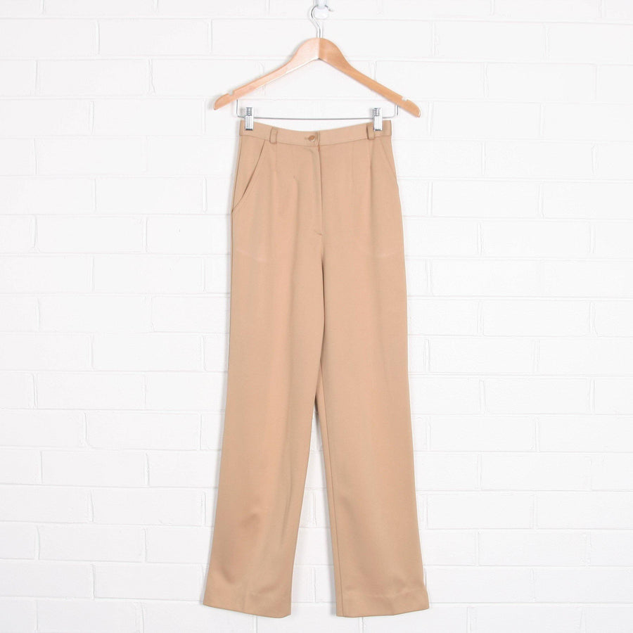 70s High Waist Straight Leg Beige Pleated Pants