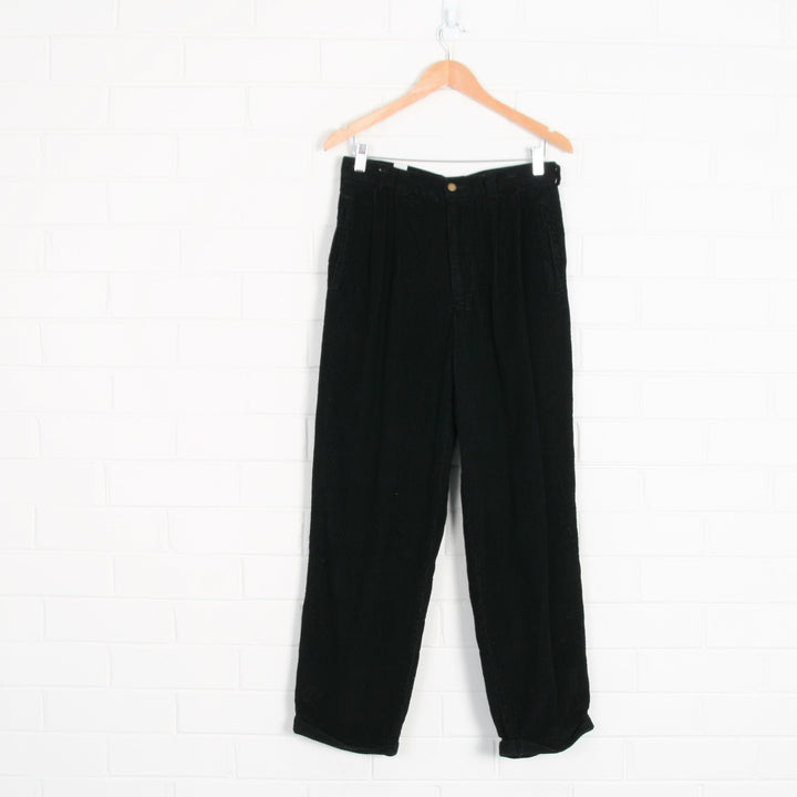 Black Thick Cord High Waist Pleated Pants