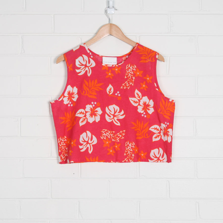 LINEN Tropical Print Crop Tank Top