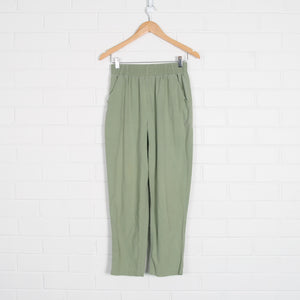 Khaki Green Elastic High Waist Pants