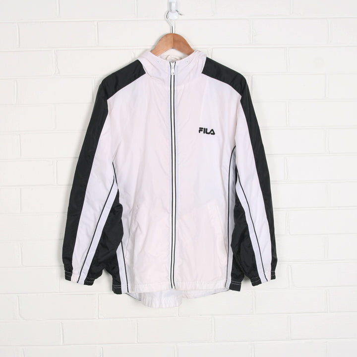 FILA Black White Zip Up Windbreaker Jacket
