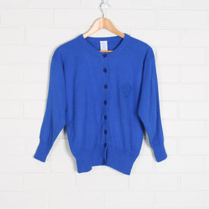 Blue Embroidered Knit Cardigan