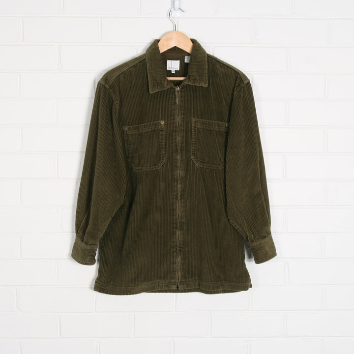 Khaki Green Thick Cord Zip Up Shacket