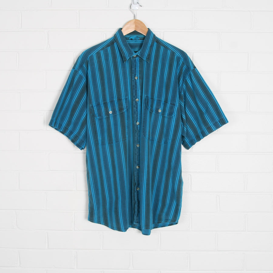 Bright Blue Vertical Stripe Short Sleeve Shirt
