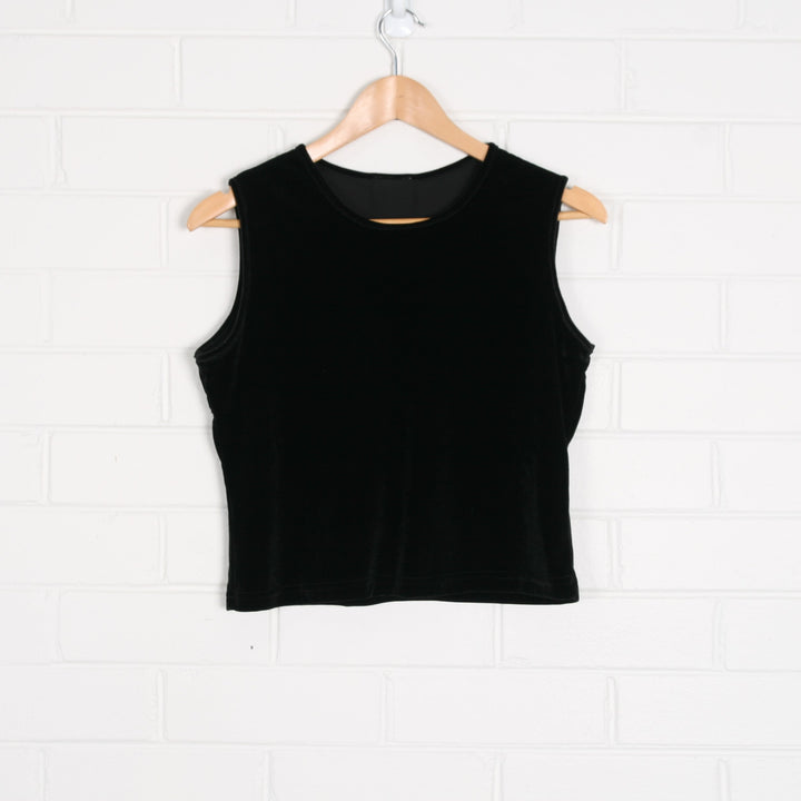 Black Velvet Crop Sleeveless Tank Top