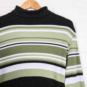 90s Green Stripe Ribbed Turtleneck Knit
