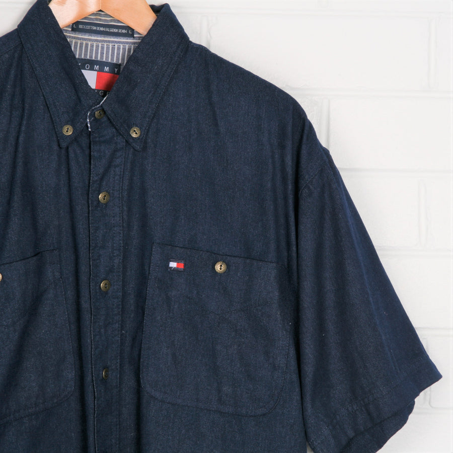 TOMMY HILFIGER Embroidered Logo Chambray Short Sleeve Shirt