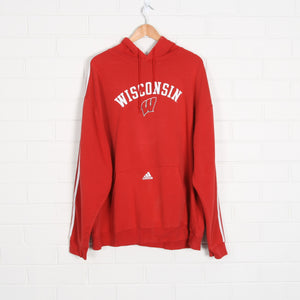 Red ADIDAS Wisconsin College Hoodie Sweatshirt XL