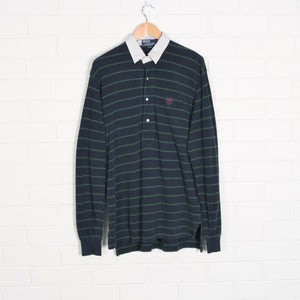 RALPH LAUREN POLO Stripe Navy Check Collar Polo Shirt