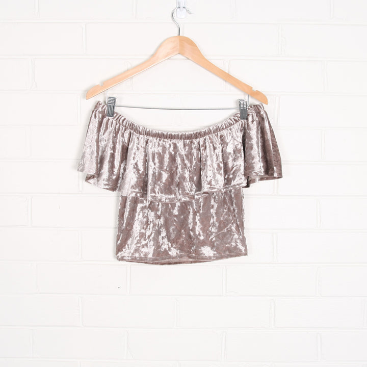 Off Shoulder Velvet Crop Top USA Made