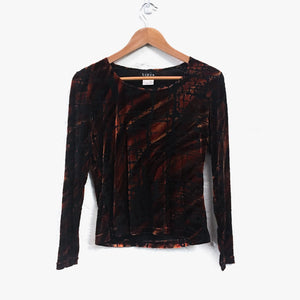 Sheer Velvet Long Sleeve Embellished Top