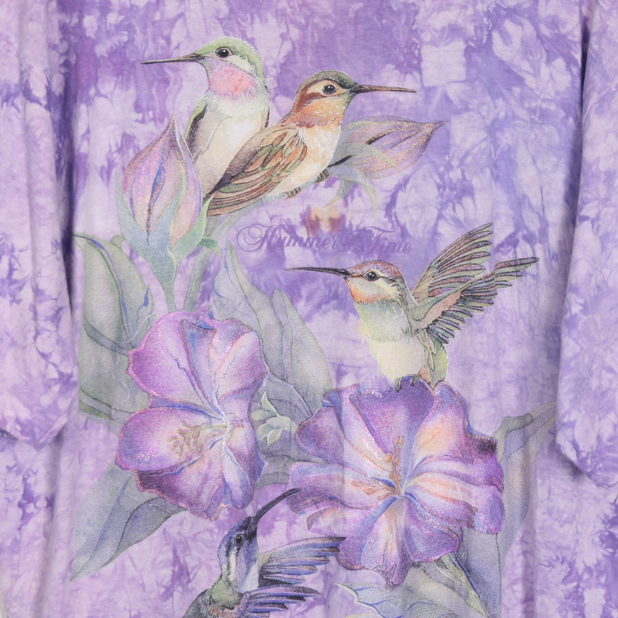 "Purple Tie Dye "" Hummer Time"" Bird Print T Shirt XL"