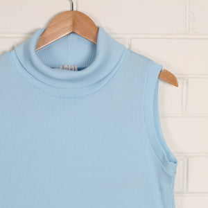 Pastel Blue 70s Ribbed Sleeveless Crop Top USA Made
