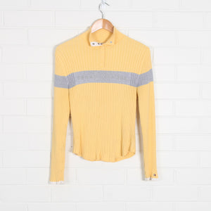 Pastel Yellow TOMMY HILFIGER 1/4 Button Ribbed Jumper