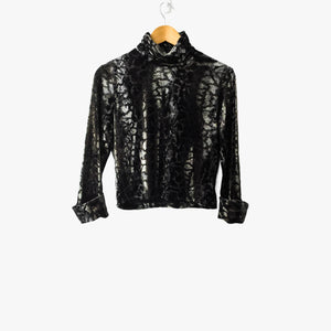 Snake Print Velvet Crop Turtleneck Top