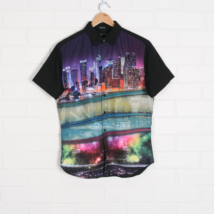 Black y2k City Skyline Graphic Bowling Shirt