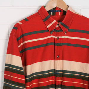 Red and Green Thick Stripe 90s Long Sleeve Shirt