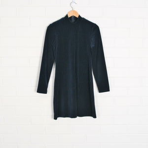 90s Navy Velvet Ribbed Long Sleeve Short Dress