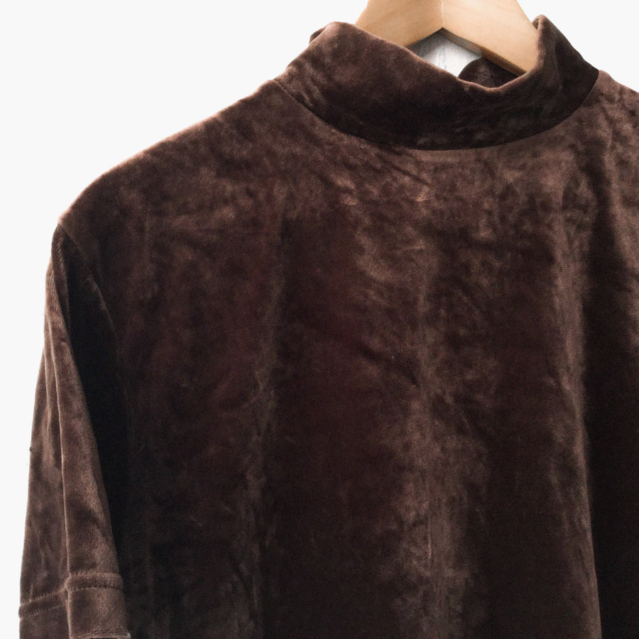 Brown Velvet Crop Turtleneck Top