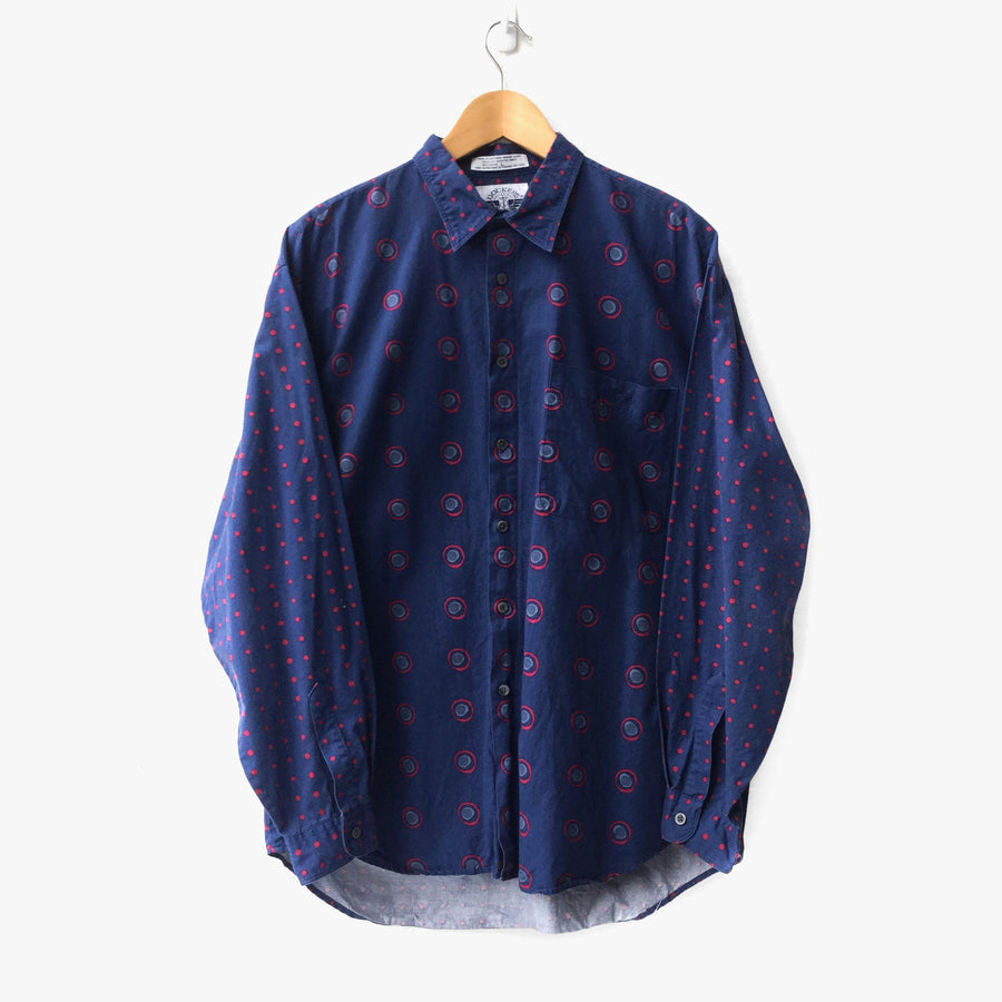 Navy Maroon Printed Long Sleeve Shirt