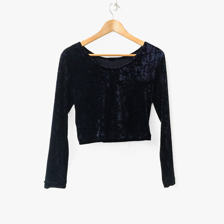 Midnight Blue Velvet Long Sleeve Crop Top