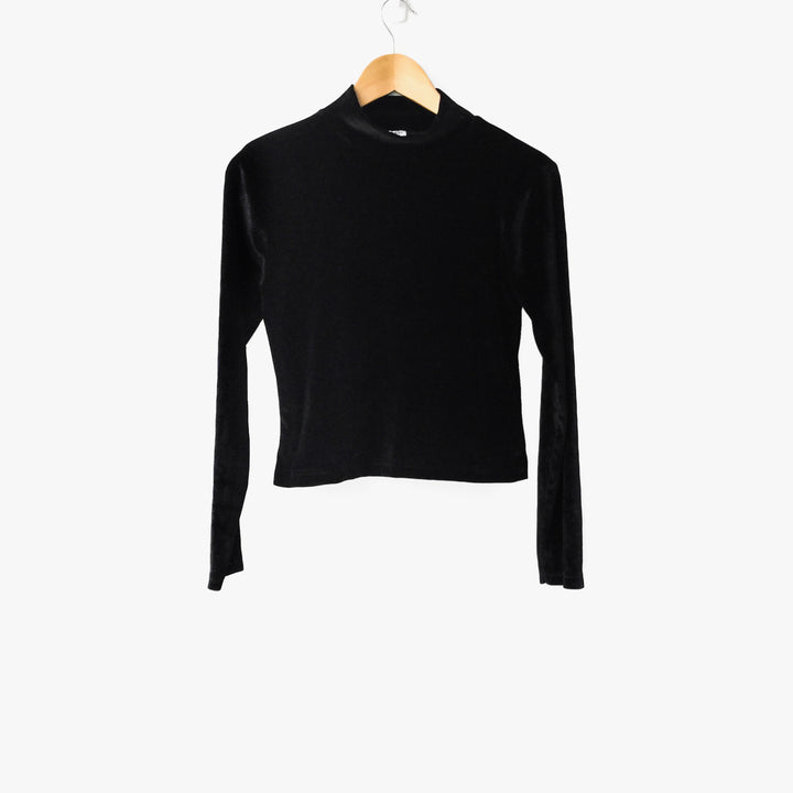 Black Crop Velvet Turtleneck Top