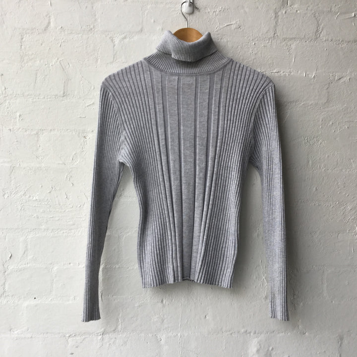 Grey Ribbed Turtleneck Knit