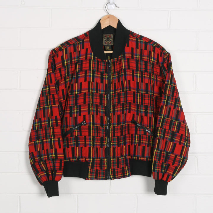 Tartan 80s Crop Bomber Jacket Made In Hong Kong