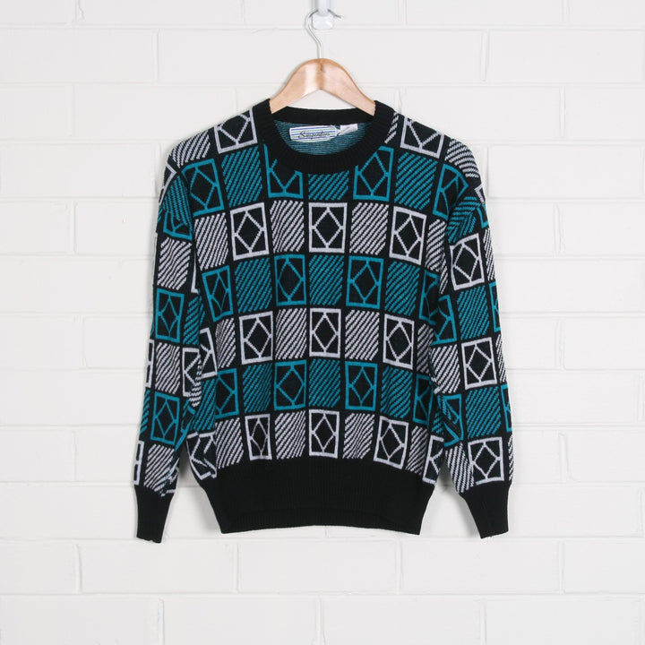 80s Geometric Print Knit Jumper