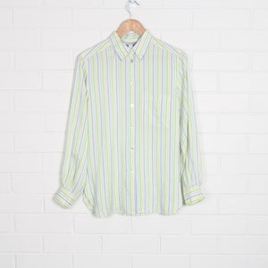 Pastel SILK Green & Blue Stripe Shirt