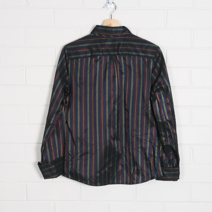 Metallic Stripe High Cuff Navy Long Sleeve Shirt