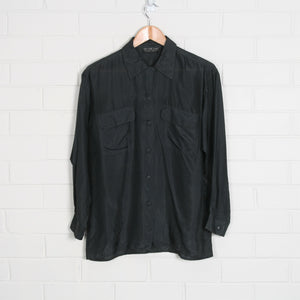 SILK 90s Charcoal Sheer Long Sleeve Shirt