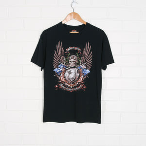 Black HARLEY DAVIDSON Australia 2008 Front and Back Print T-Shirt