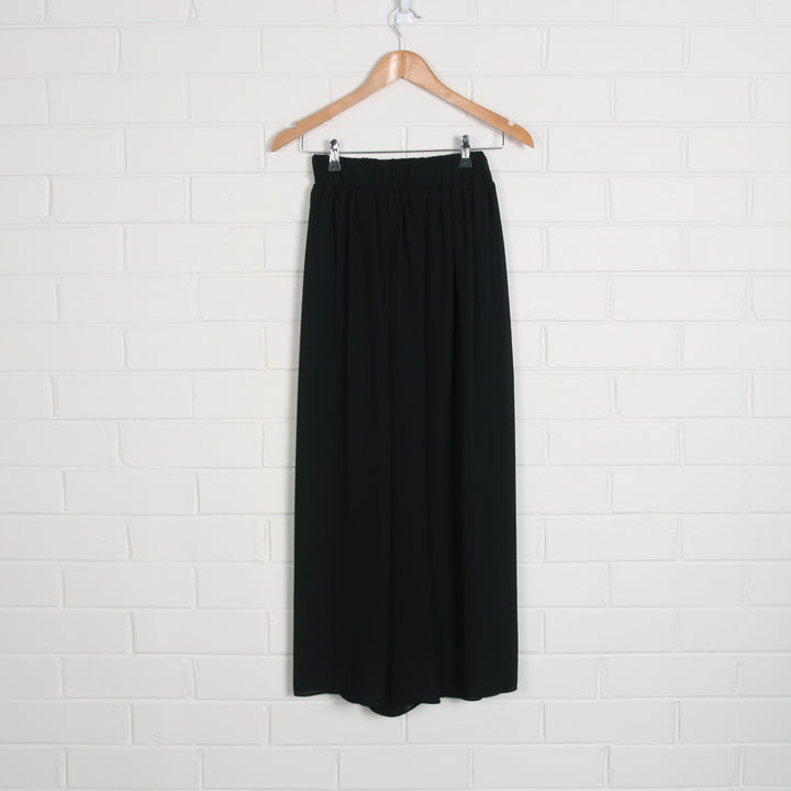 Sheer Black Pleated Elastic Waist Wide Leg Pants