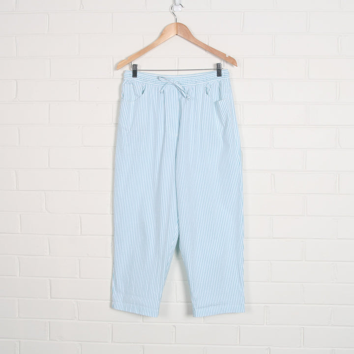 80s Pastel Stripe Blue & White Elastic Waist Pants