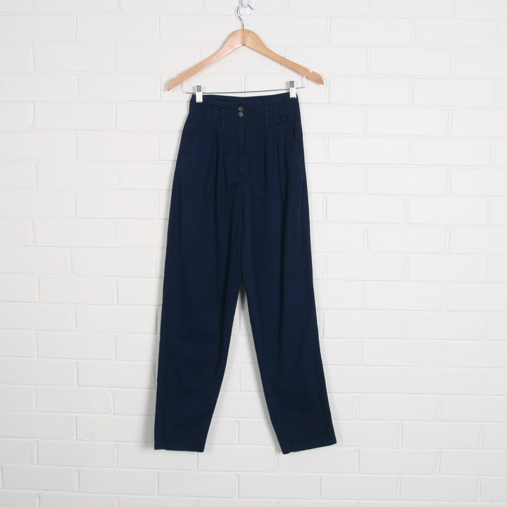80s High Waist Pleated Navy Pants