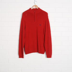 CHAPS 1/4 Zip Knit Red Jumper