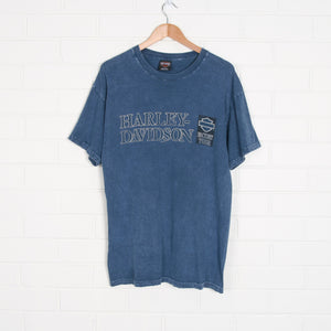 Washed Out Blue HARLEY DAVIDSON 2008 T-Shirt USA Made XL
