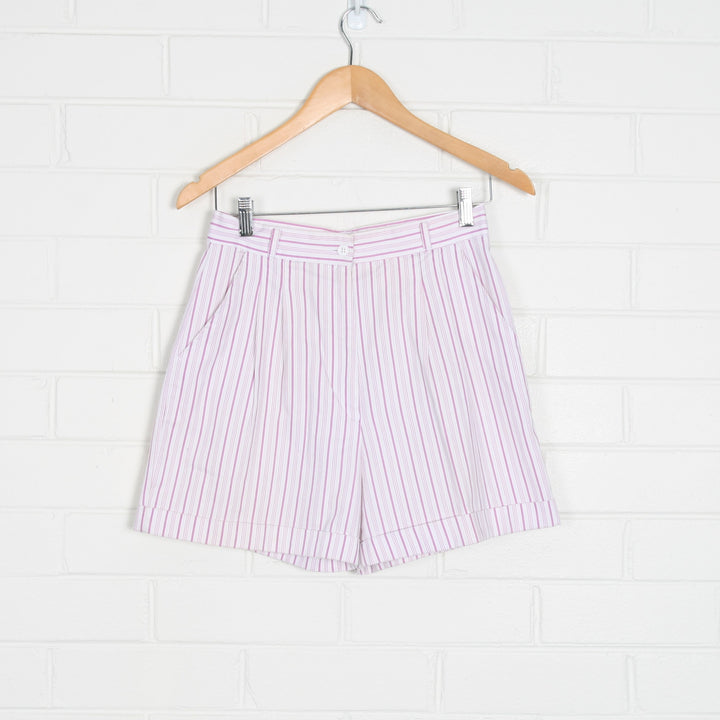 80s White and Purple Pinstripe High Waist Shorts Made in Japan