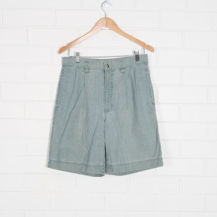 Washed Out Green High Waist 80s Pleated Bermuda Shorts