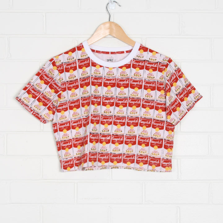 Campbell's Soup Can All Over Print Crop T-Shirt