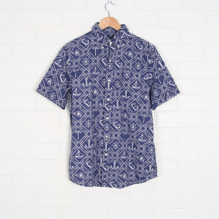 Navy CHAPS Nautical All Over Print Short Sleeve Shirt