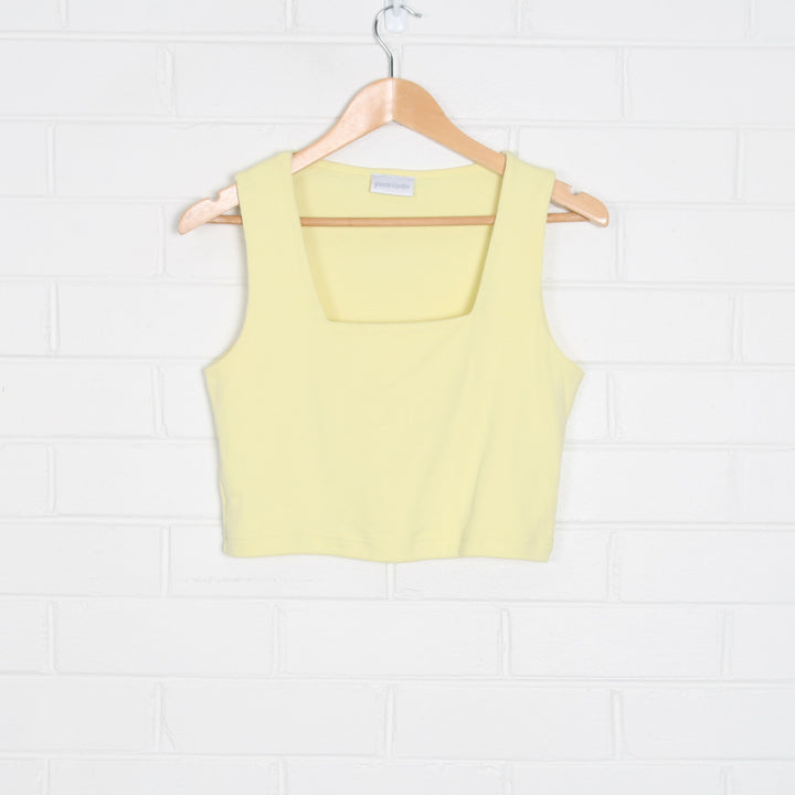 Pastel Yellow PIERRE CARDIN Square Neck Crop Tank Top