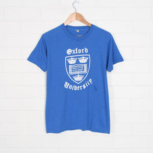 Blue 80s Oxford University College T-Shirt USA Made