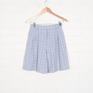Lilac High Waisted 90s Large Check Pleated Bermuda Shorts