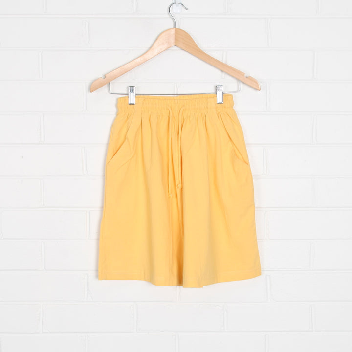 Yellow 90s Cut Elastic Waist Shorts with Drawstring