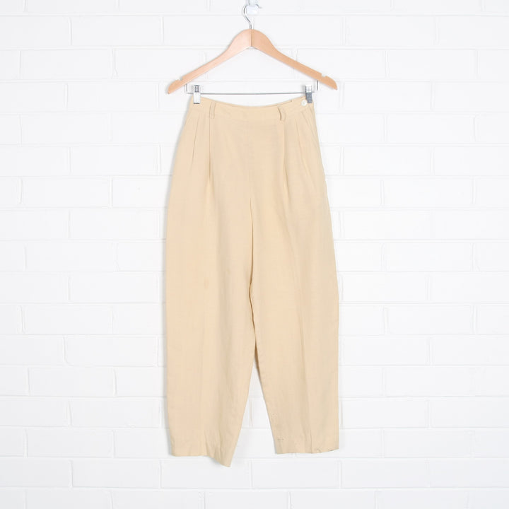 Linen Blend High Waist Tailored Pants