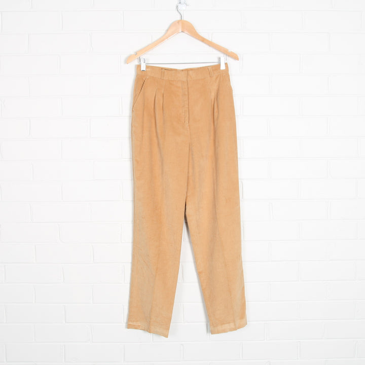 Beige Cord Tailored Pants High Waist