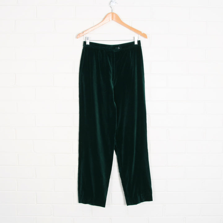 VELVET Dark Green High Waist Tailored Pants